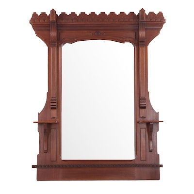 Eastlake Style Carved Mahogany Hall Mirror, Late 19th Century