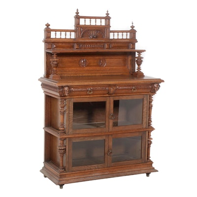 Carved Oak Glass-Front Sideboard, Late 19th Century