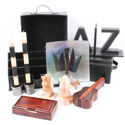 Leather Office Accessories, Wooden Boxes, Marble Horse Head Bookends and More
