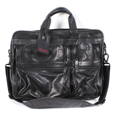 Tumi Expandable Organizer Laptop Briefcase in Black Leather