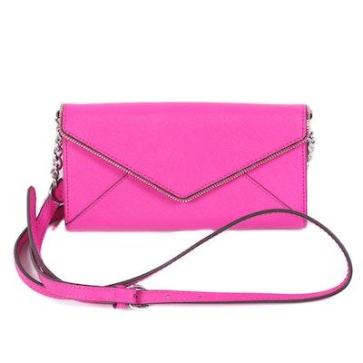 Rebecca Minkoff Cleo Hot Pink Saffiano Leather Crossbody Envelope Wallet