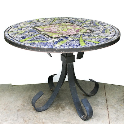 Mosaic Tile Table Top on Wrought Iron Pedestal