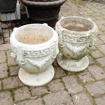 Concrete Greek Key Outdoor Planters
