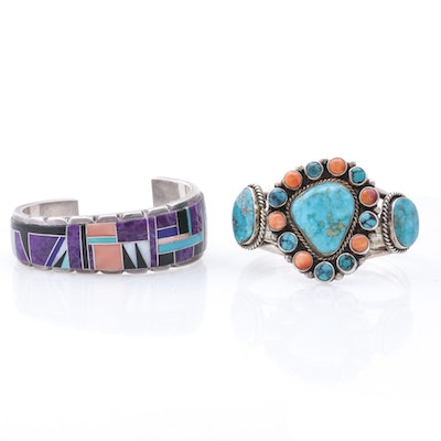 Julian Arviso Sterling Silver Cuff and GW Turquoise and Coral Cuff