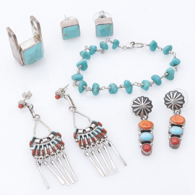 Darrell Cadman Sterling Silver Dyed Turquoise and Coral Earrings and More
