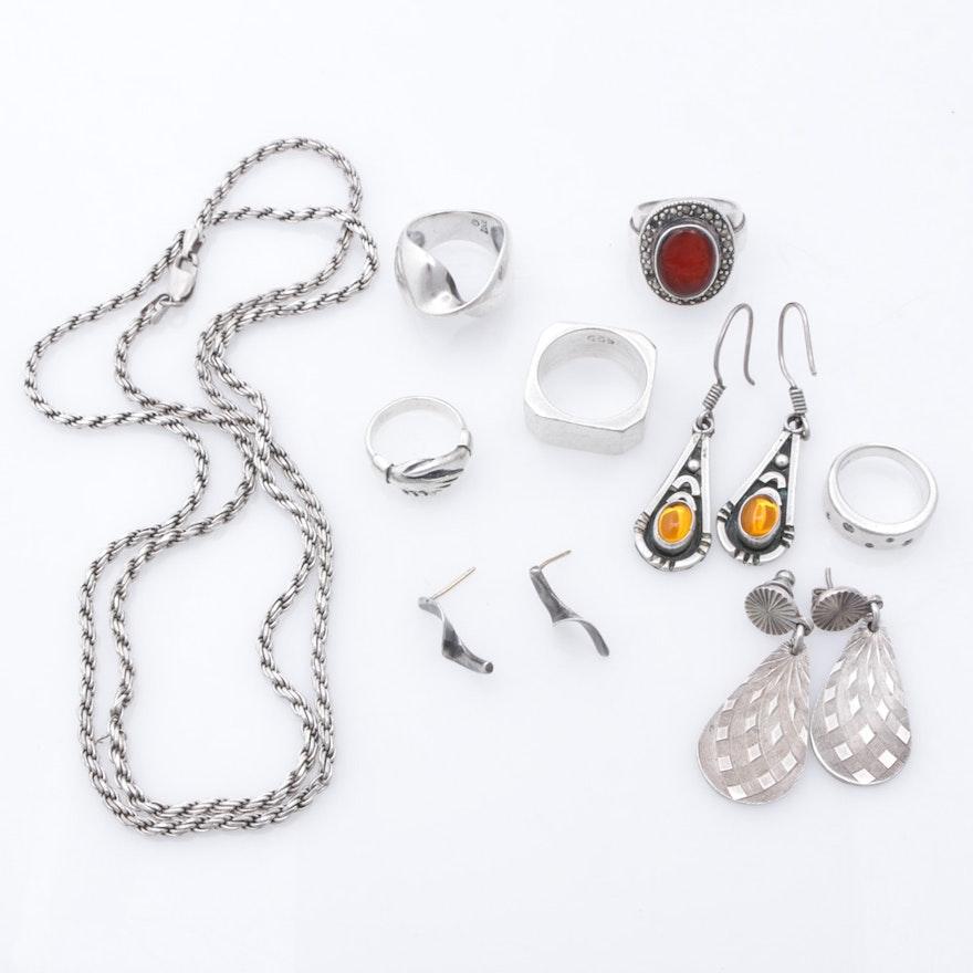 Modernist Sterling Silver Jewelry Including Imitation Gemstones