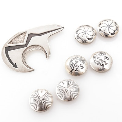 Anitra's Inc. Southwest Sterling Silver Brooch Button Covers