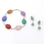 14K Gold Scarab Amber, Carnelian, Amethyst, and Chalcedony Bracelet and Earrings