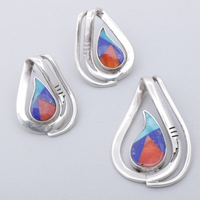 Jerry J. Nelson Sterling Silver Dyed Turquoise, Lapis and Coral Assorted Jewlery