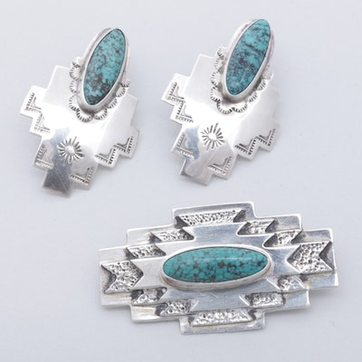 Sterling Silver Dyed Turquoise Earrings and Brooch