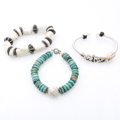 Sterling Silver Magnesite, Turquoise, Black Coral and Shell Bracelets
