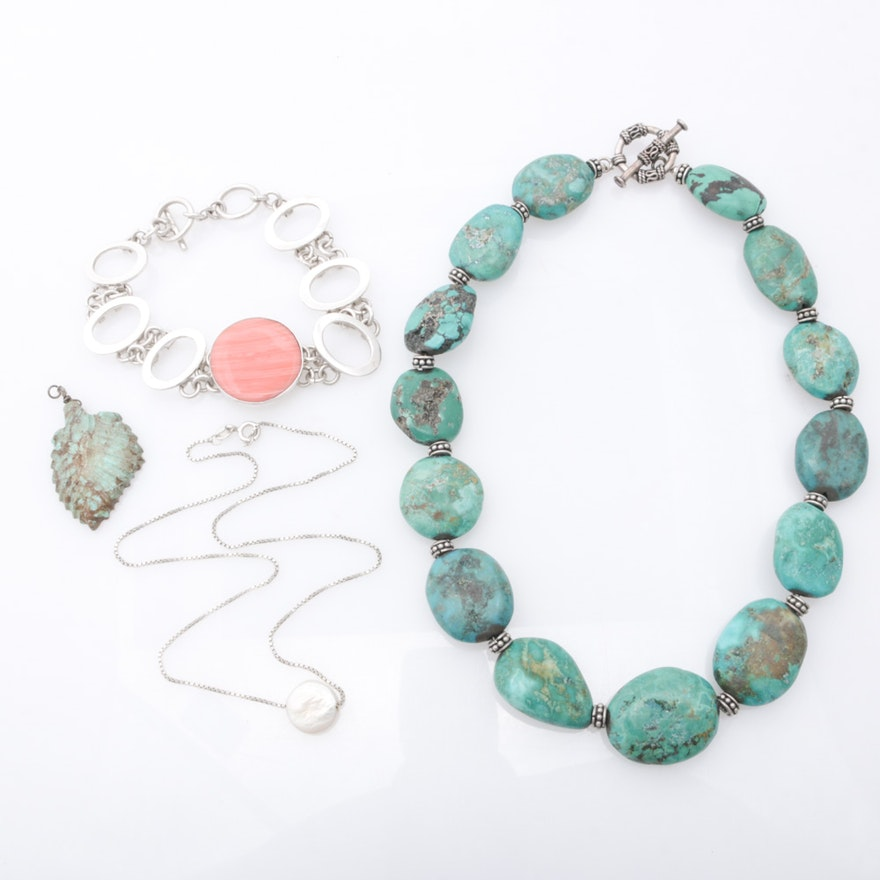 Sterling Silver Dyed Turquoise, Cultured Pearl Assorted Jewelry