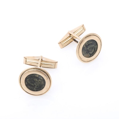 14K Yellow Gold Cufflinks with Ancient Judean AE Prutah Coins