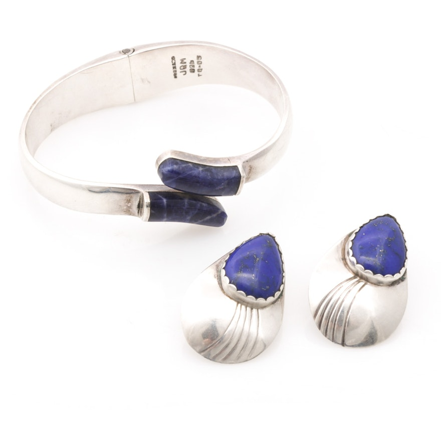 Sterling Silver Sodalite and Lapis Jewelry