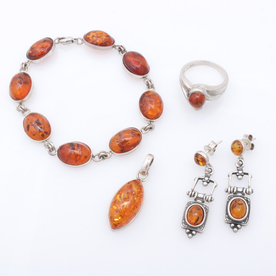 Sterling Silver Amber Jewelry