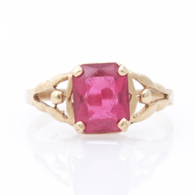 14K Yellow Gold Synthetic Ruby Ring, Vintage