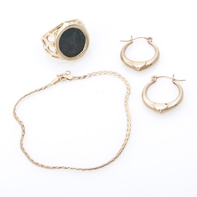 14K Yellow Gold Jewelry Including Ancient Coin