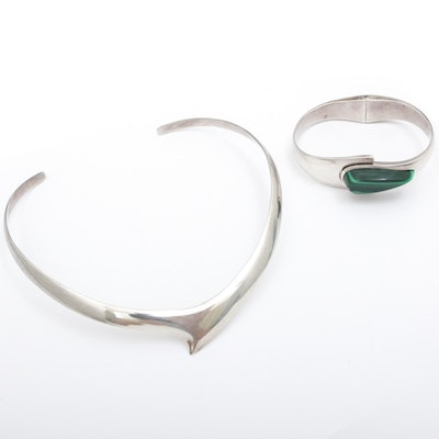 Mexican Modernist Sterling Silver Malachite Necklace and Bracelet