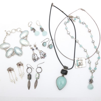 Sterling Silver Jewelry with Pearl, Shell, Agate, Quartz, and Mother of Pearl