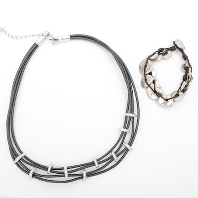 Uno de 50 Leather and Silver Tone Necklace with Bracelet
