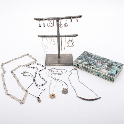 Modernist Sterling Silver Necklaces and Earrings