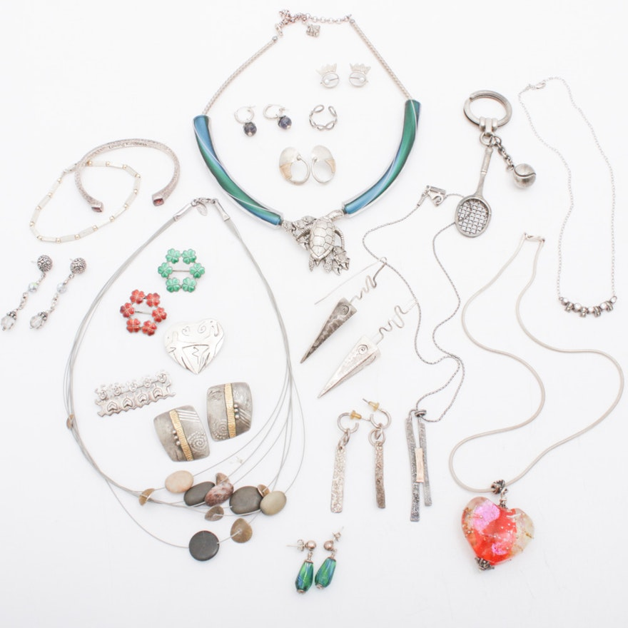 Sterling Silver Necklaces, Earrings, Pins and Bracelets