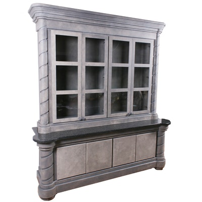 Contemporary Painted Wood and Marble Stepback China Cabinet
