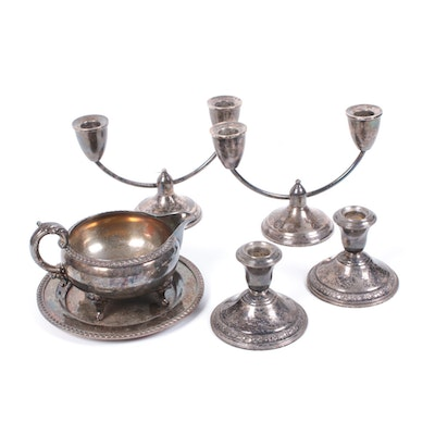 Weighted Sterling Silver Candlesticks and Poole Silver Electroplate Gravy Boat