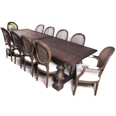 "Restoration Hardware ""Monastery"" 84"" Dining Table in Brown Acacia and Chairs"