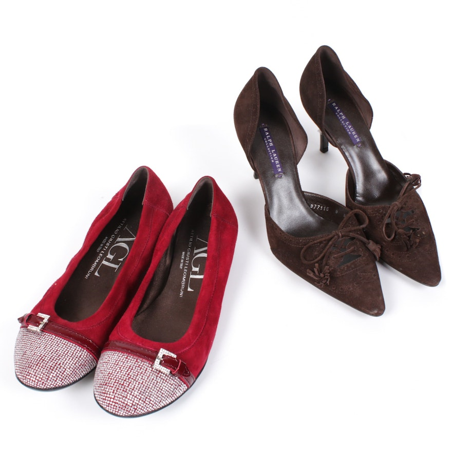 Ralph Lauren Purple Label d'Orsay Suede Pumps and Attilio Giusti Leombruni Flats