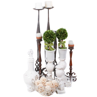 Contemporary White Home Decor, Vanity Bench and Wrought Iron Floor Candlesticks
