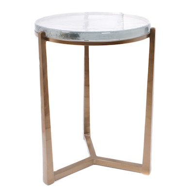 Contemporary Metal and Glass Top Side Table