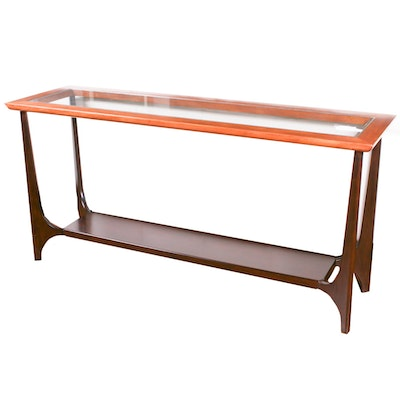 Arhaus Glass and Wood Sofa Table, Contemporary