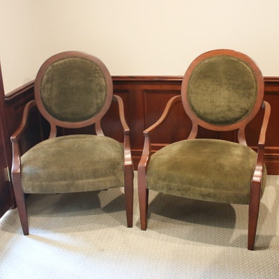 Suede Upholstered and Mahogany Armchairs