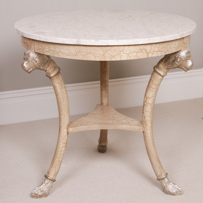 Marble Top End Table with Gilt Lion Accents