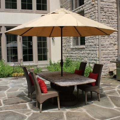 Stone Top Patio Table and Wicker Pedestal with Four Chairs, Umbrella and Stand