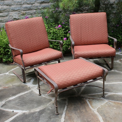 Wrought Iron Chairs and Ottoman with Cushions