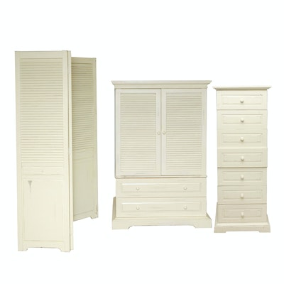 Contemporary Whitewashed Media Wardrobe, Lingerie Chest, and Room Divider