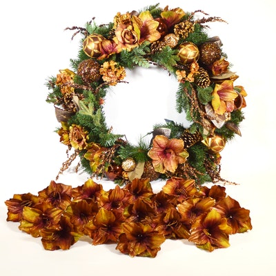 "Frontgate ""Oakwood Manor"" Holiday Wreath and Amaryllis Clip-On Flowers"