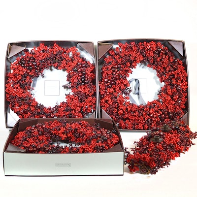 Restoration Hardware Mixed Berry Wreaths and Table Decor