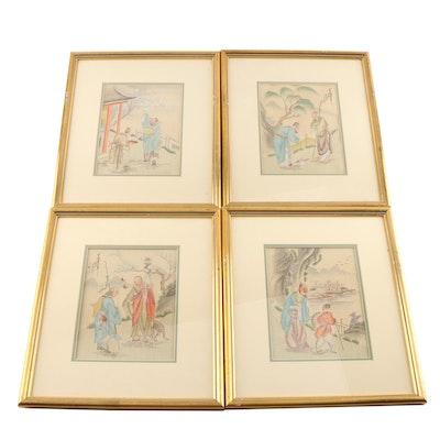 Chinese Watercolor Genre Paintings