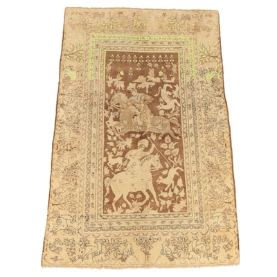 Hand-Knotted Perisan Tabriz Wool Pictorial Hunting Rug