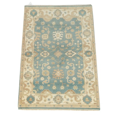 Hand-Knotted Indo-Turkish Oushak Wool Area Rug