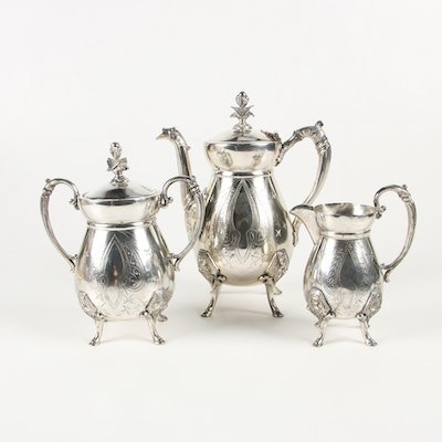 American Egyptian Revival Silver Plate Coffee Set
