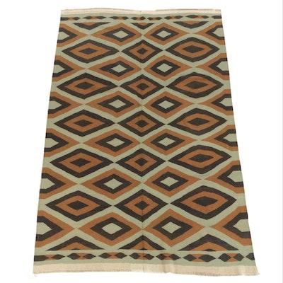 Handwoven Indian Mid Century Modern Style Wool Area Rug