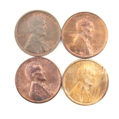 Four Higher Grade Lincoln Wheat Cents, Including a 1909 VDB
