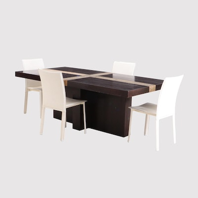 Contemporary Modern Style Wooden Dining Table and White Faux Leather Side Chairs