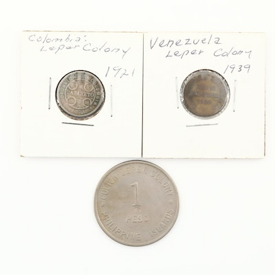 Three Leper Colony Coins From the 1920s and 1930s