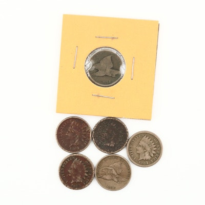 Four Indian Head and Two Flying Eagle Copper-Nickel Small Cents