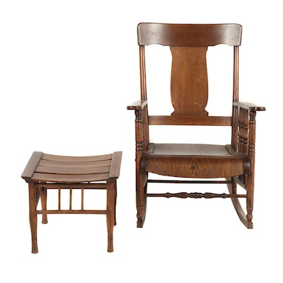 Quarter-Sawn Oak Rocker with Footstool, Late 19th, Early 20th Century